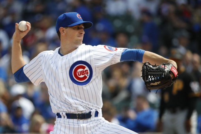 Chicago Cubs starting pitcher Kyle Hendricks pitches against the Pittsburgh Pirates during the first inning. File photo by Kamil Krzaczynski/UPI