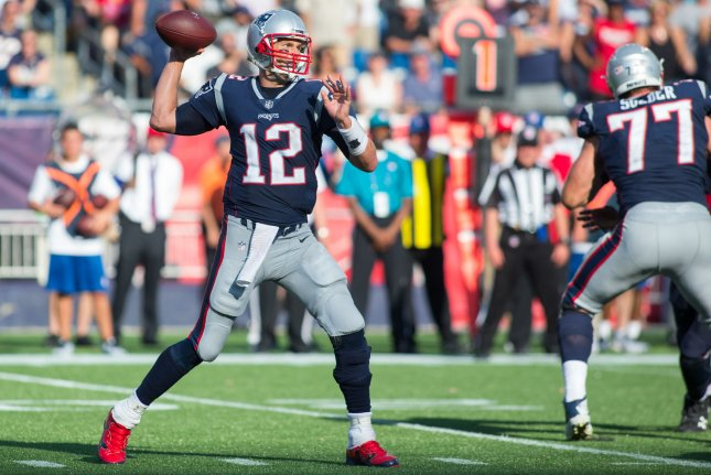 New England Patriots quarterback Tom Brady throws a pass in the fourth quarter against the Houston Texans at Gillette Stadium in Foxborough, Massachusetts on September 24, 2017. The Patriots defeated the Texans 36-33. Photo by Matthew Healey/ UPI