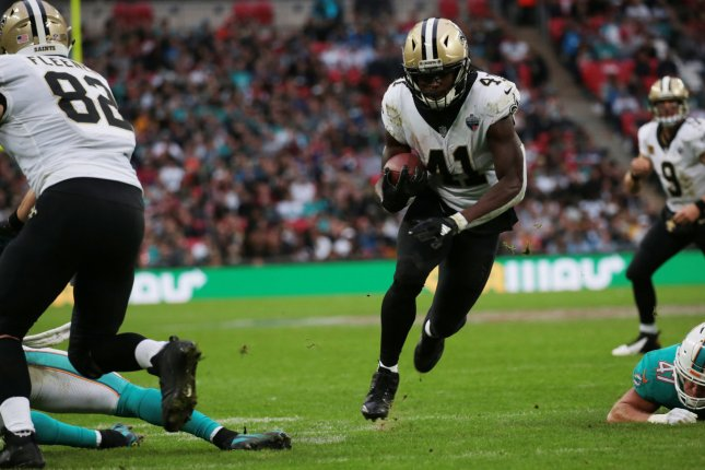 New Orleans Saints running back Alvin Kamara scores a touchdown in the NFL International Series match against the New Orleans Saints Sunday at Wembley Stadium in London. Photo by Hugo Philpott/UPI