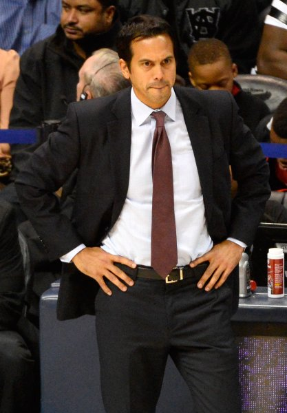 Miami Heat head coach Erik Spoelstra became the franchise leader in coaching wins with Saturday's victory over the Los Angeles Clippers. File photo by David Tulis/UPI