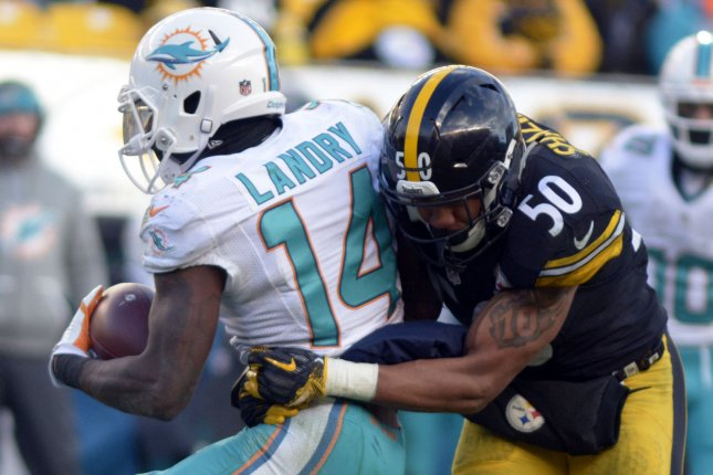 7a494ff23 Pittsburgh Steelers inside linebacker Ryan Shazier (50) stops Miami  Dolphins wide receiver Jarvis Landry (14) late in the fourth quarter of the  Pittsburgh ...