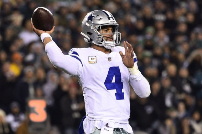 Dallas Cowboys quarterback Dak Prescott (4) throws the ball during a game against the Philadelphia Eagles on November 11, 2018 at Lincoln Financial Field in Philadelphia. Photo by Derik Hamilton/UPI