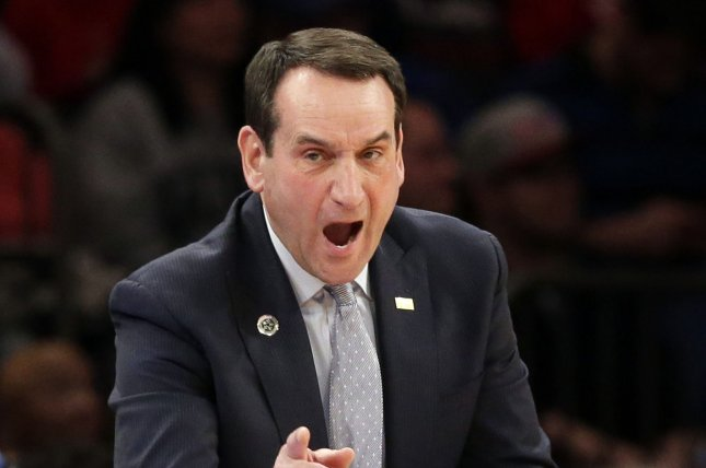 Duke coach Mike Krzyzewski and the Blue Devils suffered an upset loss to the Virginia Tech Hokies on Tuesday night. File Photo by John Angelillo/UPI