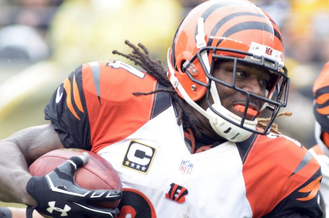 Former Cincinnati Bengals cornerback Adam Jones was arrested at a casino and booked into a jail Wednesday in Indiana. Jones is a free agent this offseason. File Photo by Archie Carpenter/UPI