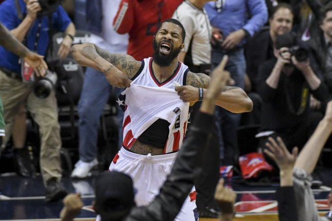 Former Washington Wizards and current Detroit Pistons forward Markieff Morris was fined for directing abusive comments toward a referee during Saturday's game against the Philadelphia 76ers. File Photo by Mark Goldman/UPI