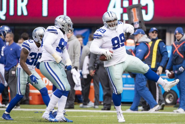 Dallas Cowboys defensive tackle Antwaun Woods (99) has missed the team's last two games due to a knee injury. File Photo by Chris Szagola/UPI