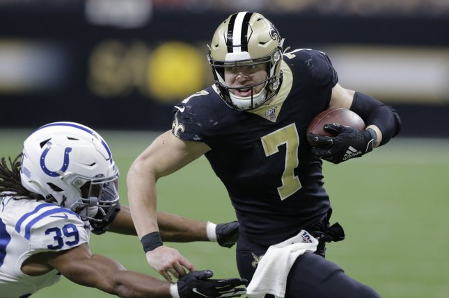 Brett Favre said the Green Bay Packers could use Jordan Love like the New Orleans Saints use quarterback Taysom Hill (7). File Photo by AJ Sisco/UPI