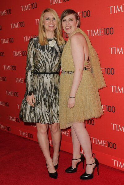 Claire Danes and Lena Dunham arrive at the TIME 100 Gala at Jazz at Lincoln Center on April 23, 2013 in New York City. UPI/Monika Graff