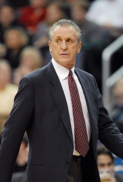Miami Heat head coach Pat Riley watches his team play during the first quarter against the Washington Wizards at the Verizon Center in Washington on April 4, 2008. (UPI Photo/Alexis C. Glenn)