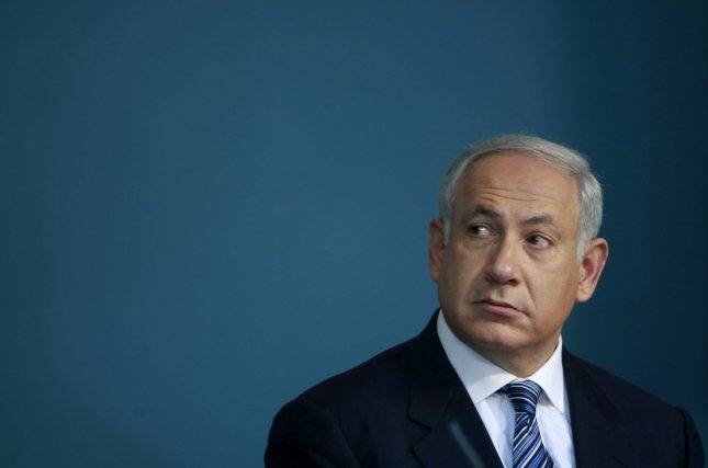 Israel's Prime Minister Benjamin Netanyahu attends a news conference in his office in Jerusalem on April 23, 2009. Netanyahu and Finance Minister Yuval Steinitz unveiled measures to revive a flagging economy, including doubling loan guarantees for banks and cutting corporate taxes. (UPI Photo/Ammar Awad/Pool)