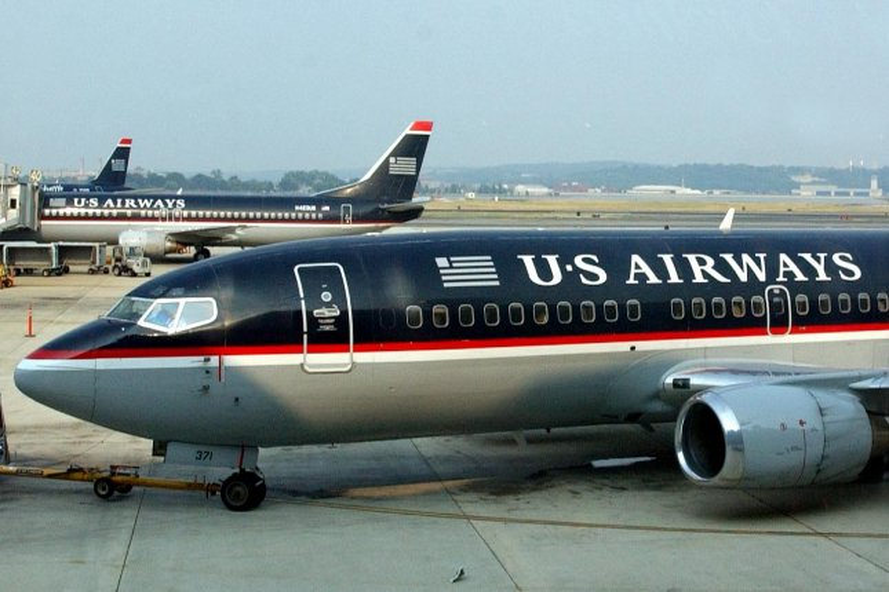 A US Airways plane taxis at Ronald Regan Washington National Airpor. (File/UPI/Roger L. Wollenberg)