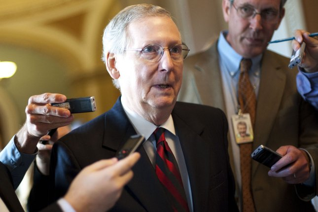 Senate Minority Leader Mitch McConnell blocked an election security bill from advancing in the Senate. Photo by Kevin Dietsch/UPI