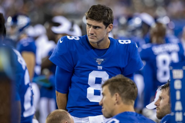 New York Giants rookie quarterback Daniel Jones (8) has completed 25-of-30 passes for 369 yards and two touchdowns in three games this preseason. He has also fumbled three times. Jones has a quarterback rating of 140.1. Photo by Corey Sipkin/UPI
