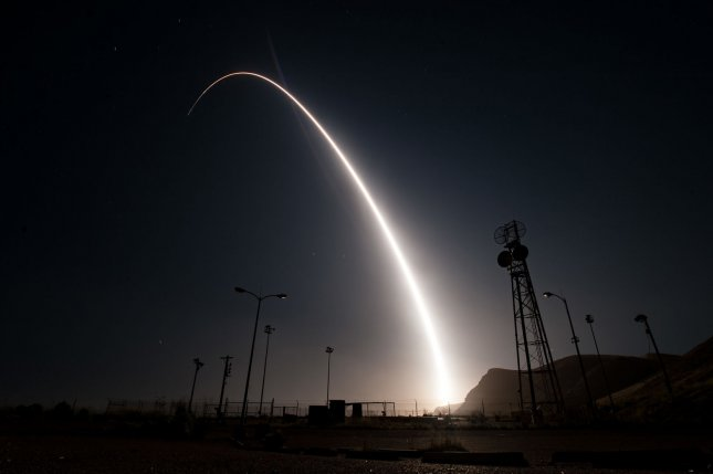 Pictured, an unarmed Minuteman III intercontinental ballistic missile launches during an operational test on April 26, 2017, from Vandenberg Air Force Base, Calif. File Photo by Ian Dudley/U.S. Air Force/UPI