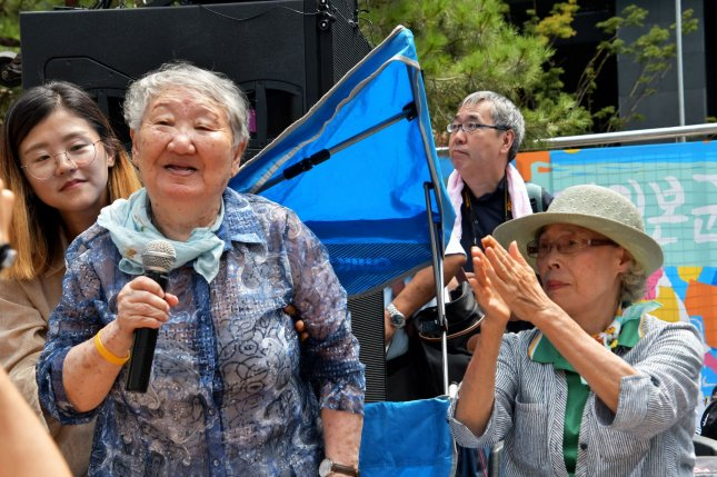 The family of former South Korean comfort woman Gil Won-ok (L) said Thursday Gil was used by various NGOs to raise funds. File Photo by Keizo Mori/UPI