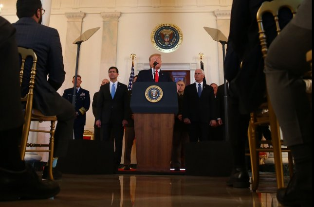 President Donald Trump speaks in the Grand Foyer of the White House, where he will appear on Thursday during an event the White House bills the Spirit of America Showcase.File Photo by Tasos Katopodis/UPI