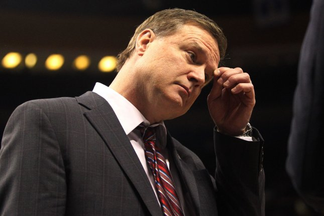Kansas Jayhawks head basketball coach Bill Self and the Jayhawks were scheduled to play Texas in the Big 12 semifinals Friday. File Photo by Robert Cornforth/UPI