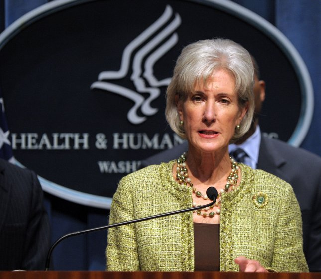 Secretary of Health and Human Services (HHS) Kathleen Sebelius speaks during a news conference to explain how the Obama administration is combating Medicare fraud and to release tips and information for Medicare beneficiaries to avoid medical identity theft at HHS headquarters in Washington on October 15, 2009. UPI/Roger L. Wollenberg