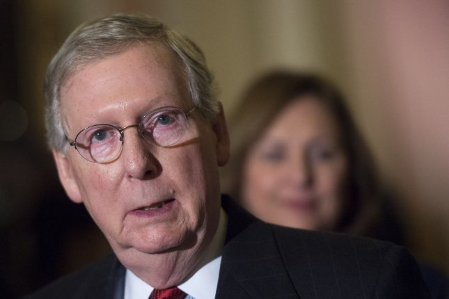 Senate Majority Leader Mitch McConnell, R-KY., declared an impasse early Saturday after the Senate could not reach an agreement about renewing parts of the Patriot Act. The Senate will reconvene on May 31. Photo by Kevin Dietsch/UPI