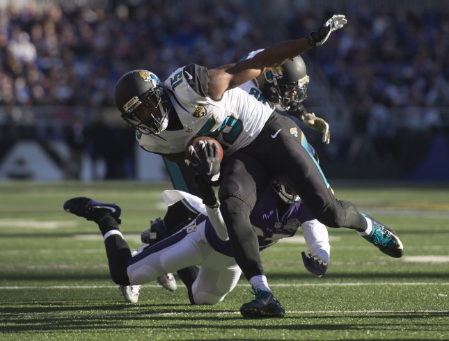 Jacksonville Jaguars receiver Allen Robinson runs against the Baltimore Ravens during a game in 2015. File photo by Kevin Dietsch/UPI