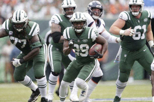 New York Jets running back Bilal Powell (29) carries the football against the Denver Broncos on October 7, 2018 at MetLife Stadium in East Rutherford, New Jersey. Photo by John Angelillo/UPI
