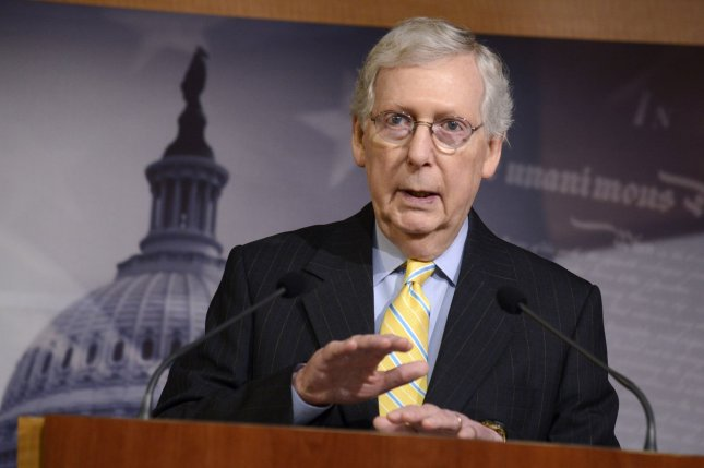 Senate Republican leader Mitch McConnell speaks to reporters June 27 at the U.S. Capitol in Washington, D.C. File Photo by Mike Theiler/UPI