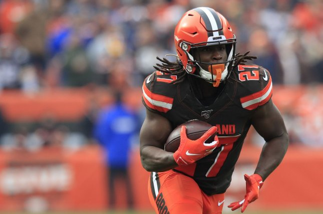 Cleveland Browns running back Kareem Hunt had 101 yards from scrimmage and two touchdowns on 12 touchdowns in a win over the Cincinnati Bengals Thursday in Cleveland. Photo by Aaron Josefczyk/UPI