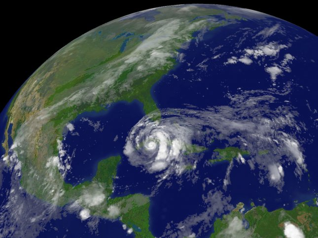 This September 9, 2008 NOAA satelite photo shows Hurricane Ike as it travels south of Havana, Cuba. This system is moving toward the west-northwest near 13 MPH with maximum sustained winds near 80 MPH. (UPI Photo/NOAA)