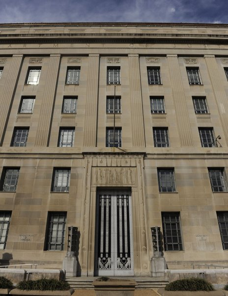 The Department of Justice is seen in Washington. The DOJ has reported 903 new healthcare fraud prosecutions in 2011. UPI/Roger L. Wollenberg
