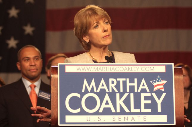 The Boston Globe poll released Friday is the first to give Republican Charlie Baker a lead over Attorney General Martha Coakley. UPI/Ryan T. Conaty