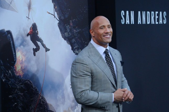Cast member Dwayne The Rock Johnson attends the premiere of the motion picture thriller San Andreas at TCL Chinese Theatre in the Hollywood section of Los Angeles on May 26, 2015. Photo by Jim Ruymen/UPI