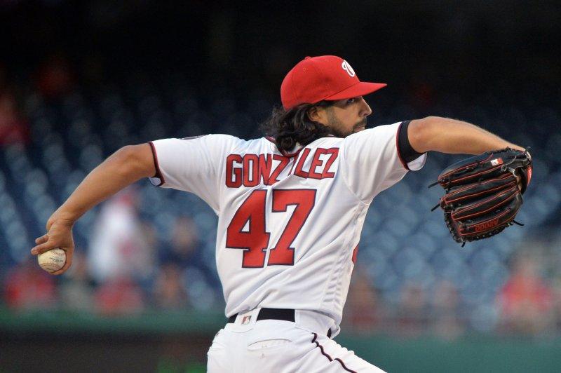 Washington Nationals starting pitcher Gio Gonzalez (47). Photo by Kevin Dietsch/UPI