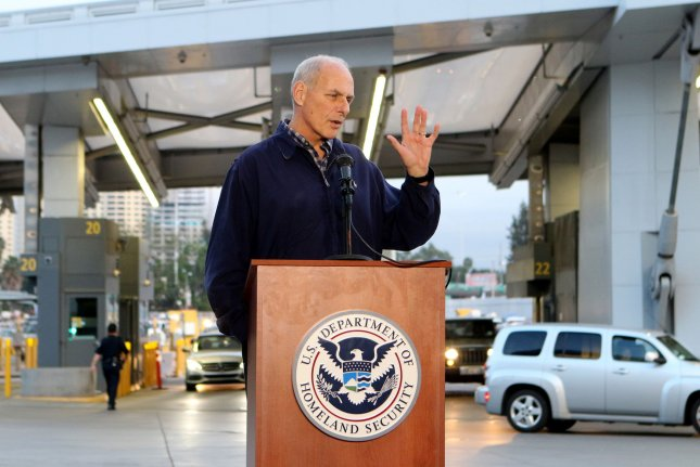 Secretary of Homeland Security John Kelly, speaking with reporters during a press conference in February, said he renewed a DHS bulletin after careful consideration of the current threat environment and input from intelligence and law enforcement partners. Photo by Howard Shen/UPI