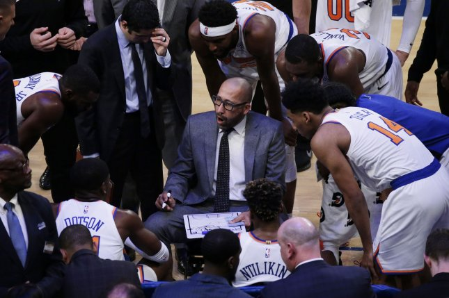 Coach David Fizdale and his New York Knicks face the New Orleans Pelicans on Friday. Photo by John Angelillo/UPI
