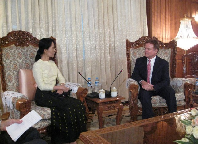 U.S. Sen. Jim Webb (D-VA) (R) meets with opposition leader Aung San Suu Kyi in Yangon, Myanmar on August 15, 2009. Suu Kyi has been detained for 14 of the past 20 years and was convicted of violating the terms of her house arrest by allowing American John Yettaw to stay at her home for two days. After Sen. Webb's visit, the generals of Myanmar agreed to release Yettaw, who was sentenced to seven years of hard labor. UPI/Sen. Webb's office