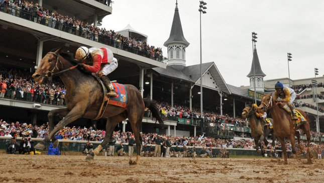 Orb ridden by jockey Joel Rosario wins the 139th Kentucky Derby at Churchill Downs on May 4, 2013 in Louisville, Kentucky. Golden Soul finished in second place and Revolutionary took third. UPI/Kevin Dietsch