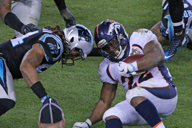 Researchers have discovered a way to more reliably diagnose concussions using auditory biomarkers. Pictured, Carolina Panthers Kony Ealy (L) goes helmet to helmet with Denver Broncos C.J. Anderson (22) after a short gain in the fourth quarter of Super Bowl 50 at Levi's Stadium in Santa Clara, California, February 7, 2016. The Denver Broncos defeated the Carolina Panthers 24-10. File photo by Khaled Sayed/UPI