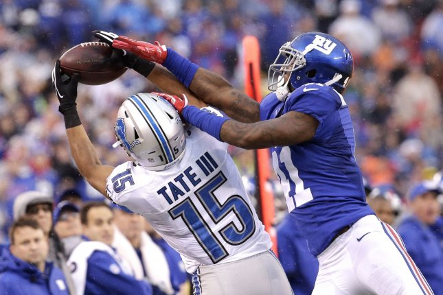 Former New York Giants cornerback Dominique Rodgers-Cromartie (41) defends Detroit Lions wide receiver Golden Tate (15) in Week 15 of the NFL season on December 18, 2016 at MetLife Stadium in East Rutherford, New Jersey. File photo by John Angelillo/UPI