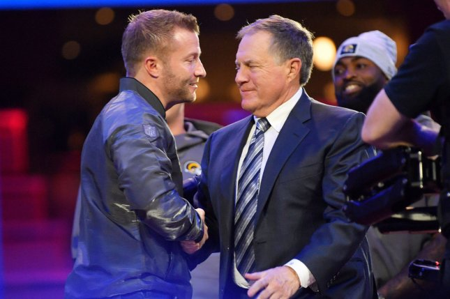 Sean McVay (left) owns a 24-8 record in two seasons as the Los Angeles Rams' head coach. He battles New England Patriots coach Bill Belichick (right) for a chance to win his first Super Bowl on Sunday in Atlanta. Photo by Kevin Dietsch/UPI