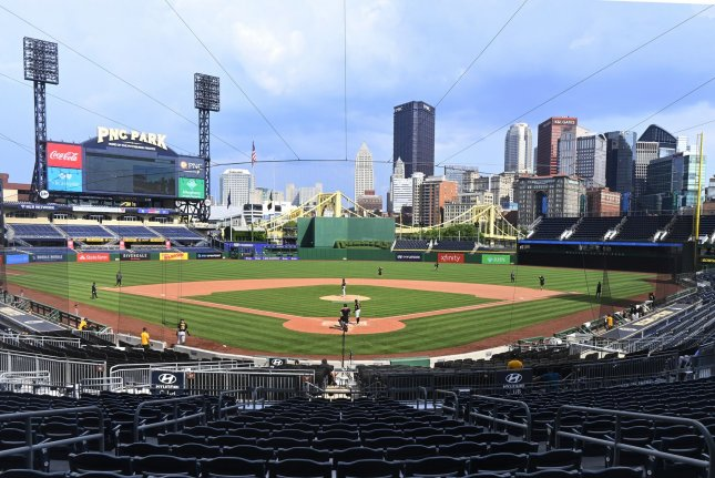 The Pittsburgh Pirates play a practice game during summer workouts on July 10 at PNCParkin Pittsburgh. Major League Baseball will start its 2020 season this week after the coronavirus pandemic caused months of delays. File Photo by Archie Carpenter/UPI