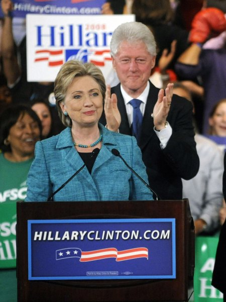 Democratic Presidential candidate Sen. Hillary Clinton (D-NY) stands for an ovation alongside her husband former President Bill Clinton at a victory rally after winning the Pennsylvania presidential primary in Philadelphia on April 22, 2008. (UPI Photo/Kevin Dietsch)