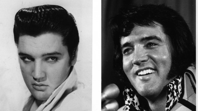 Elvis Presley back in 1956 (L) and again in 1972 in New York. Elvis died on August 16, 1977. UPI