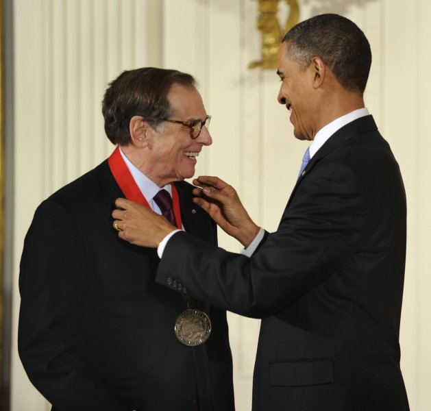 Robert A. Caro, author of biographies of Robert Moses and President Lyndon Johnson, accepts the National Humanities Medal from US President Barack Obama in a ceremony in the East Room of the White House, Feb. 25, 2010, in Washington,D.C. UPI/Mike Theiler