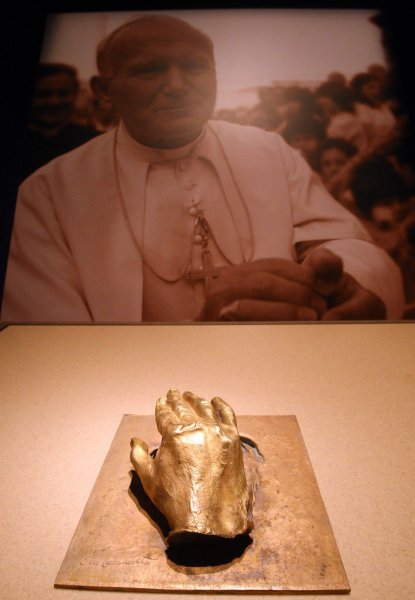 A cast of the hand of Pope John Paul II is on display as final preparations are made for the opening of Vatican Splendors, at the Missouri History Museum in St. Louis on May 14, 2010.The hand is just one piece of the 200 rare works of art and historically significant objects from the Vatican. St. Louis is one of only three U.S. cities to host this display which begins on May 15. UPI/Bill Greenblatt