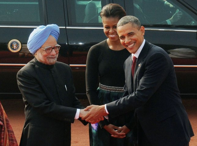 Indian Prime Minister Manmohan Singh (L) shown with U.S. President Obama and first lady Michelle Obama in New Delhi Nov. 8, 2010. UPI/Raj Patidar