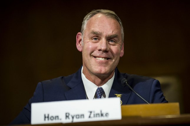 Rep. Ryan Zinke, R-Mont., testifies before the Senate Committee on Energy and Natural Resources during his confirmation hearing as secretary of the interior on January 17. The Senate approved his nomination Wednesday by a 68-31 vote. File Photo by Pete Marovich/UPI