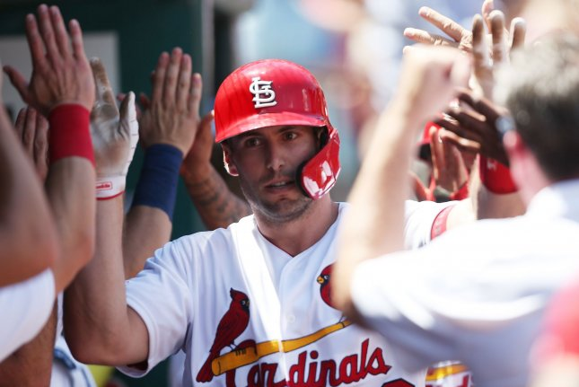 St. Louis Cardinals first baseman Paul Goldschmidt went 2-for-4 with two RBIs and two runs scored in a win against the Arizona Diamondbacks. He is hitting .251 with 17 home runs and 39 RBIs during his first season with the Cardinals. Photo by Bill Greenblatt/UPI