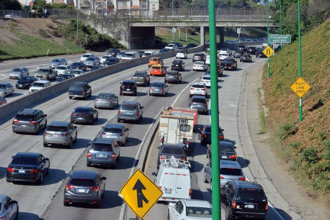 Traffic is seen on the 110 Freeway towards Pasadena, Calif. File Photo by Jim Ruymen/UPI