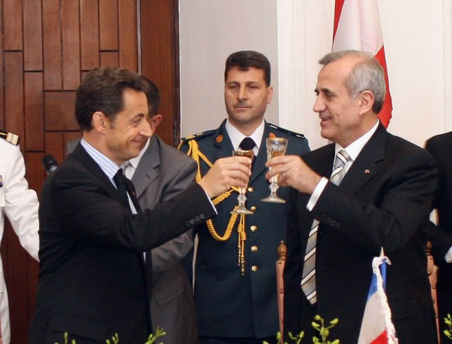 Lebanon's recently elected president Michel Suleiman (R) hosts a lunch for French President Nicolas Sarkozy (L) at the Presidential Palace in Beirut on June 7, 2008. Sarkozy is the first western head of state to meet Suleiman since the former army chief was elected president on May 25, following a Qatari-brokered deal to end the 18 month political stand off between the Lebanese government and the Hezbollah backed opposition. (UPI Photo/Dalati & Nohra)