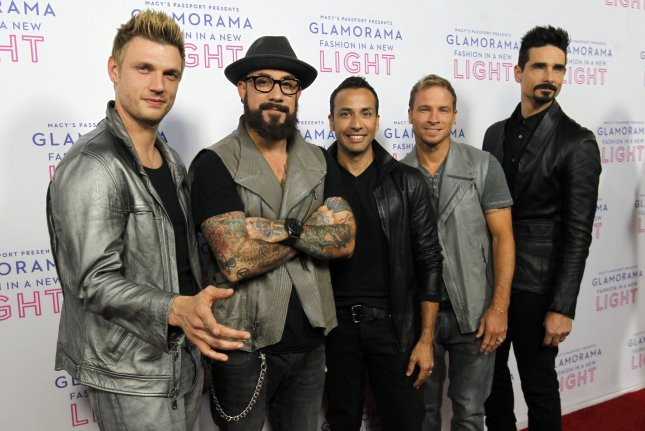 Nick Carter, A.J. McLean, Howie Dorough, Brian Littrell and Kevin Richardson (L-R) of the Backstreet Boys at Macy's Passport Presents: Glamorama on Sept. 12, 2013. McLean recently said the band is still in talks with the Spice Girls for a joint tour. File Photo by Alex Gallardo/UPI